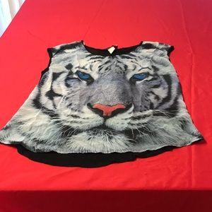 XL white tiger tank top mesh back